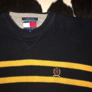 Tommy Hilfiger Sweaters - Tommy Hilfiger navy & yellow striped crew sweater